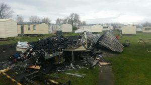 Neighbouring caravan destroyed