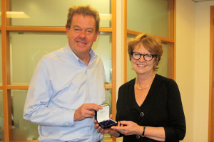 Peter Long is photographed with Alison Rice, Chair of the charity's trustees.