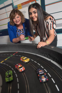 Pictured: Fiona Hyslop with Demi McacLean (13) at the Glasgow Science Centre