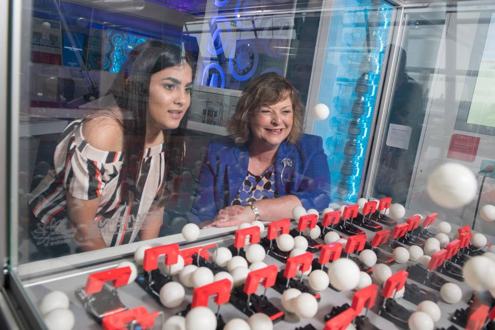 Fiona Hyslop, Cabinet Secretary for Culture, Tourism and External Affairs is pictured with Demi MacLean (13) at the Glasgow Science Centre to celebrate the VisitScotland 'ScotSpirit breaks' initiative