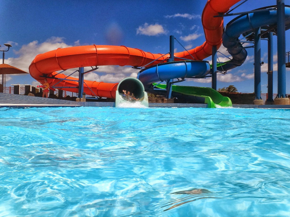 Busier holiday parks have indoor and outdoor swimming pools