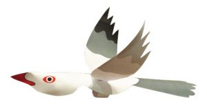 Seagull finger puppet made-up
