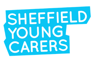 Logo of 'Sheffield Young Carers' in white with blue background