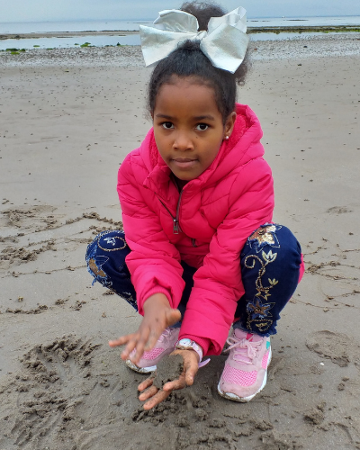 International Day of Families, Paula's daughter on the beach