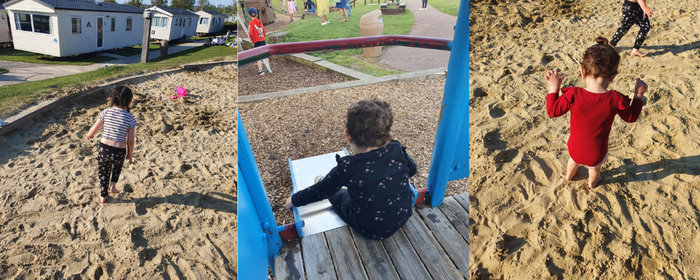 Lauren's children are playing in the sand and on the slides, for the first time ever.
